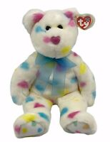"Ty Beanie Buddies 2002 14"" Kissme White Bear with Pastel Hears Blue Ribbon"