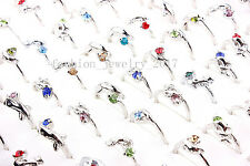 100pcs Rhinestone Silver P Rings wholesale lots Job Dolphin animal free shipping