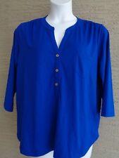 Womens Rafaella slub textured 3/4 sleeve  top/blouse $58. msrp Sapphire S