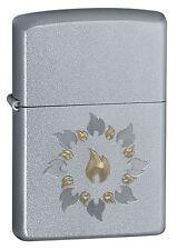 """Zippo """"Ring of Fire"""" Satin Chrome Finish  Lighter, Full Size, 21192"""