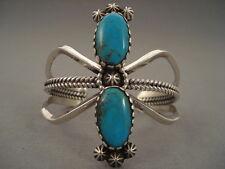 Mountain Turquoise Silver Bracelet Towering Vintage Navajo Pilot