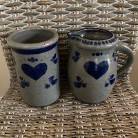Vintage Signed Pottery/Stoneware Pitcher & Vase Blue Heart 1990