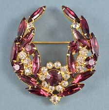 Vintage Brooch 1950s Purple Navette & Clear Crystal Goldtone Bridal Jewellery