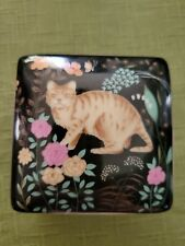 Vintage Action Porcelain Made In Japan Square Trinket Box Cat and Flowers.