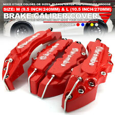 "3D Universal Style Disc Brake Caliper Cover front and rear 4 pcs Red 10.5"" WL03"