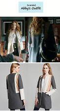 HOT Diane Von Furstenberg Gray Tanaquil Leather Suede Colorblock Coat $1,100+tax