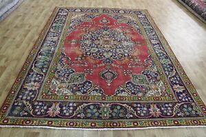 Old Hand Made Persian Tabriz floral carpet Oriental rug handmade rug 10 x 7 feet
