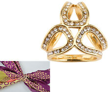 Alloy Rhinestone 3-ring Scarf Ring Clip Scarf Buckle Clear Crystals Inlay Gold