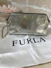 Furla small silver leather shoulder / clutch handbag with golden chain