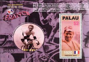 PALAU TOUR DE FRANCE SOUVENIR SHEET 2003 MNH 100TH ANNIVERSARY CYCLING STAMPS