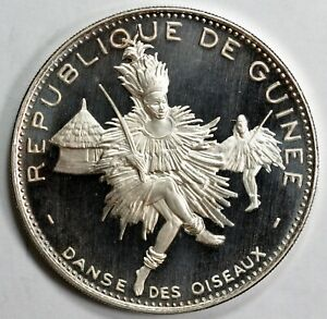 Guinea .999silver proof 500F 10th Anniv. of Independence