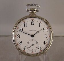 ILLINOIS 14k WHITE GOLD FILLED OPEN FACE RAILROAD DISPATCHER EXTRA POCKET WATCH
