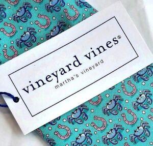 Vineyard Vines HORSESHOE CRAB Teal Blue Green Boys Necktie Silk NWT $49.50 USA