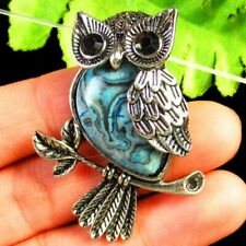 Carved Tibetan Silver Blue Crazy Lace Agate Owl Pendant Bead A53538