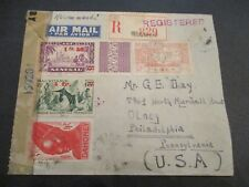 1944 Senegal Mauitane Niger Africa US Mixed Franking Censorship Registered Cover