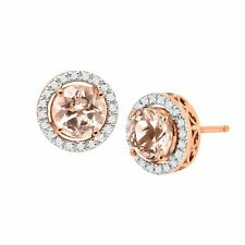 1 1/2 ct Natural Morganite & 1/8 ct Diamond Halo Stud Earrings in 14K Rose Gold