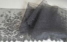Antique Hand Made WIDE Black SILK CHANTILLY LACE Trim VV69