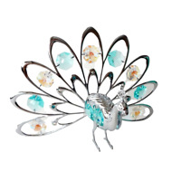 Crystocraft Proud Peacock Crystal Ornament With Swarovski Elements Gift Boxed