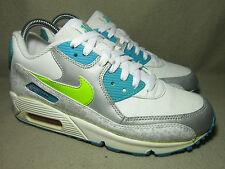 In buonissima condizione Nike Air Max 90 GS Bianco/Cyber-MRN BL-MTLC Pltnm Tg UK 5.5/EU 38.5