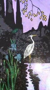 SUPERB ANTIQUE DECO SMALL BUTTERFLY WING PICTURE OF A HERON SCENE VGC !!!