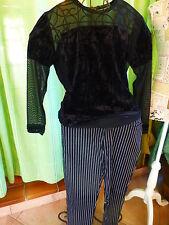 lot noir T38-40  pantalon rayé ,slim,et corsage ,voile ,velours