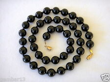 "10mm Black Onyx Necklace 22"" Knotted Genuine Natural 10 mm black Onyx Beads"
