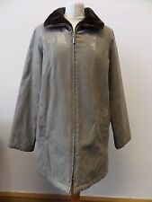 Ladies Under Wraps Long Lined Shiny Grey Jacket Brown Fur Collar Size 12 / 14