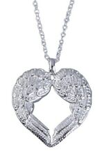 Angel Wing Heart Shape Pendant Silver plated Surface Chain Alloy Necklace L1J5