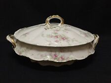 Theodore Haviland Limoges Covered Dish SCHLEIGER 151-1 Pink Flowers Gold Trim