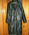 Mens Double Breasted Trench Coat Genuine Leather Long Jacket Full Length