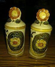 "Vintage Ceramic Stoneware Garden Sunflowers & Snail 5"" Salt & Pepper Shakers Set"