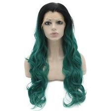 Long Wavy Black And Green Two Tone Lace Front Ombre Wig
