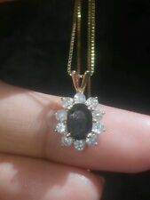 EFFY 14K SOLID YGOLD NATURAL SAPPHIRE & DIAMOND NECKLACE! Signed BH..!