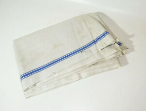 Altes Rolltuch blauer Rand 80 x 245 Vintage Upcycling !