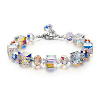 "Aurora Borealis Bracelet with Austria Crystals 18K White Gold Adjustable 7""-9"""