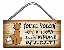 SHABBY CHIC FUNNY WOODEN SIGN IGNORED BY A CAT GIFT PRESENT 81