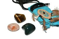 Vitality Tumbled Stone Medicine Bag Susntone Bloodstone Tiger Eye Crystal Healin