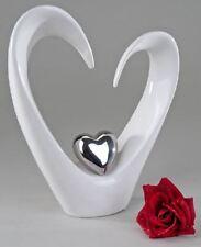 701510 Figurine Sculpture Objet Déco Cœur en faïence blanc argent Hauteur 33cm