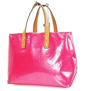 Auth LOUIS VUITTON Reade PM Fuchsia Pink Vernis Leather Tote Hand Bag #37343
