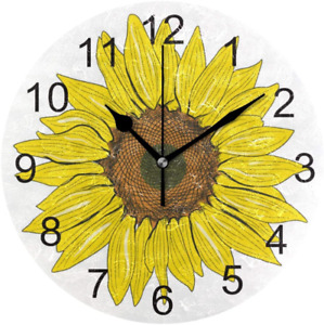 Spring Sunflower Wall Clock 9.5In Decorative Yellow Flowers Non Ticking Silent