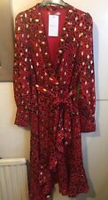 Red Leopard Midi Dress/Gold Flecks/ V-neck False Wrap with Ruffles Size 12. New