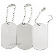 10 BLANK STAINLESS STEEL DOG TAGS SHINY/MATTE MILITARY SPEC WITH/WITHOUT KEY TAG