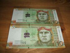 2 X PERU CONSECUTIVE UNC 10 SOLES BANKNOTE