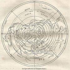 A5241 Isoterme dell'Emisfero Boreale - Stampa Antica del 1842 - Engraving