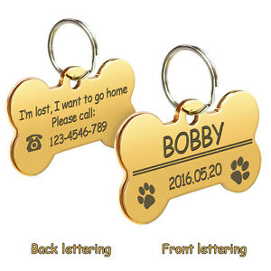 Bone/Paw Glitter Personalized Dog ID Tags Pet Name Address Engraved+Ring+Clicker