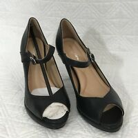 Comfortview Women's Within Classic Black Pumps Peep Toe Sling Back Heels Size 7M