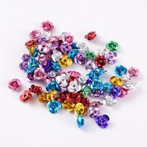 950pcs/Bag Colorful Aluminum 3D Rose Flower Metal Beads Tiny Loose Beads 6x4.5mm