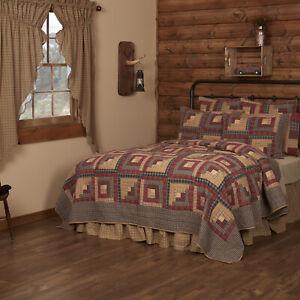 Millsboro Quilt Bedspread Set Cotton Log Cabin Vintage Style Choose Sz/ACCS VHC