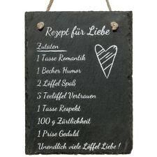 """Schiefer Schild """"Rezept für Liebe"""", Schiefertafel mit Spruch, Hochzeitsgeschenk"""