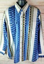 Nuevo Con Etiqueta vintage KARMAN vaquero a rayas con botones Camisa XL ka09759